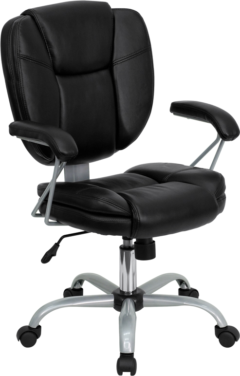 Wholesale Mid-Back Black Leather Swivel Task Office Chair with Pillow Top Cushioning and Platinum Epoxy Base & Arms