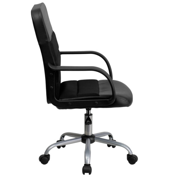Lowest Price Mid-Back Black Leather and Mesh Swivel Task Office Chair with Arms
