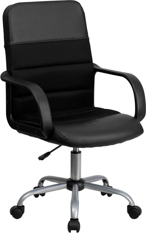 Wholesale Mid-Back Black Leather and Mesh Swivel Task Office Chair with Arms