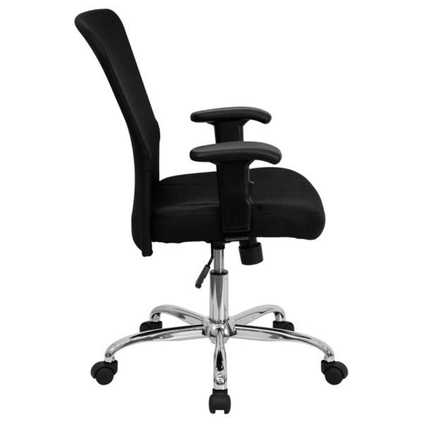 Lowest Price Mid-Back Black Mesh Contemporary Swivel Task Office Chair with Chrome Base and Adjustable Arms