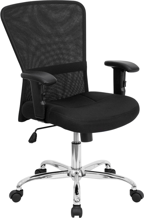 Wholesale Mid-Back Black Mesh Contemporary Swivel Task Office Chair with Chrome Base and Adjustable Arms