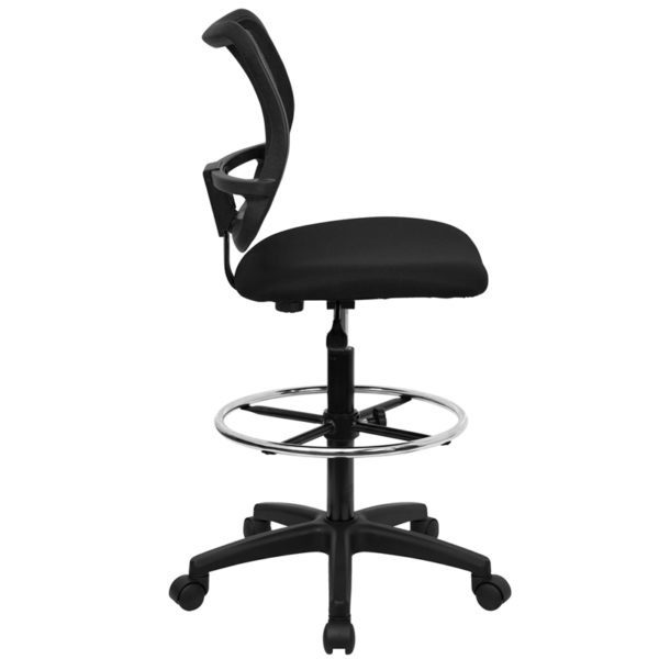 Lowest Price Mid-Back Black Mesh Drafting Chair