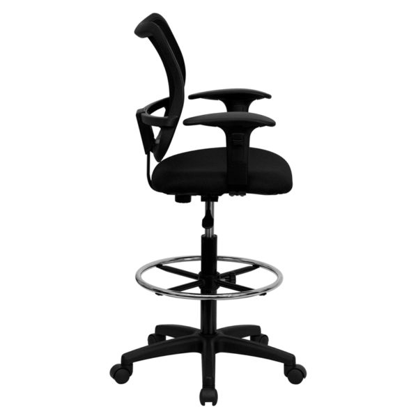Lowest Price Mid-Back Black Mesh Drafting Chair with Adjustable Arms