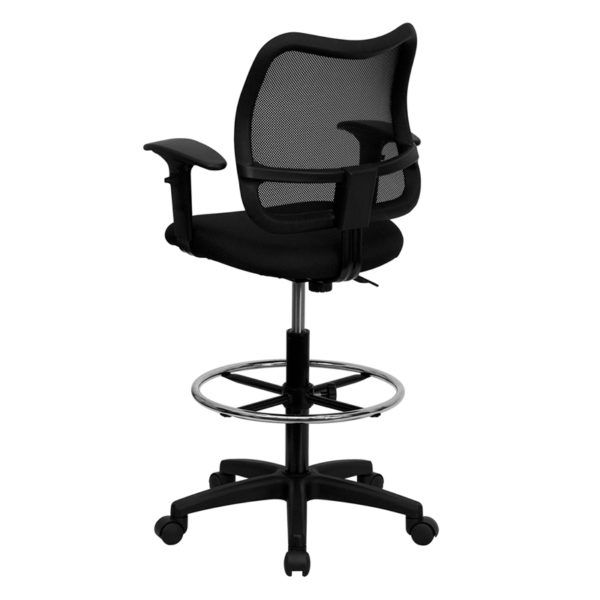 Contemporary Draft Stool Black Mesh Draft Chair w/ Arms
