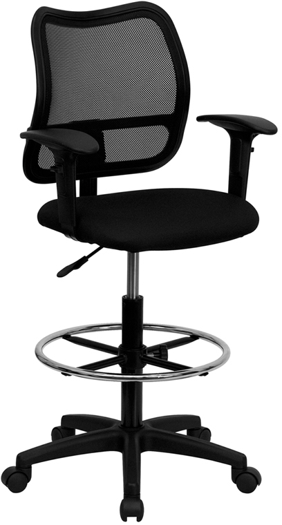 Wholesale Mid-Back Black Mesh Drafting Chair with Adjustable Arms