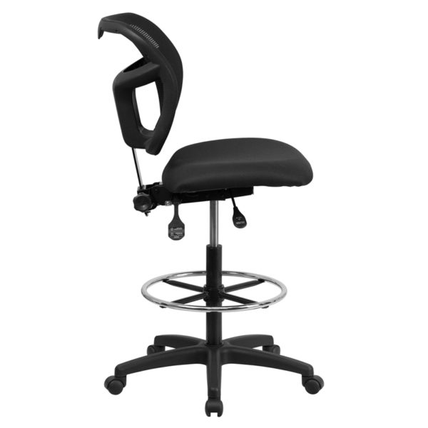 Lowest Price Mid-Back Black Mesh Drafting Chair with Back Height Adjustment