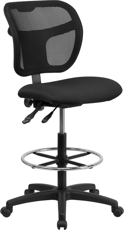 Wholesale Mid-Back Black Mesh Drafting Chair with Back Height Adjustment