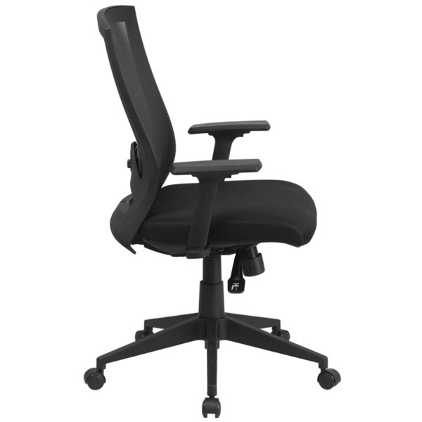 Lowest Price Mid-Back Black Mesh Executive Swivel Ergonomic Office Chair with Back Angle Adjustment and Adjustable Arms