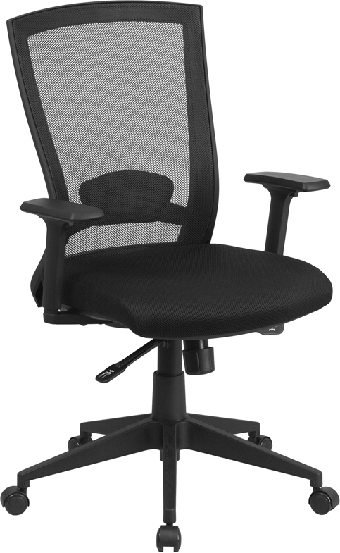 Wholesale Mid-Back Black Mesh Executive Swivel Ergonomic Office Chair with Back Angle Adjustment and Adjustable Arms