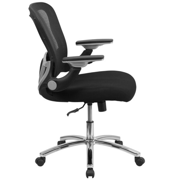 Lowest Price Mid-Back Black Mesh Executive Swivel Ergonomic Office Chair with Height Adjustable Flip-Up Arms