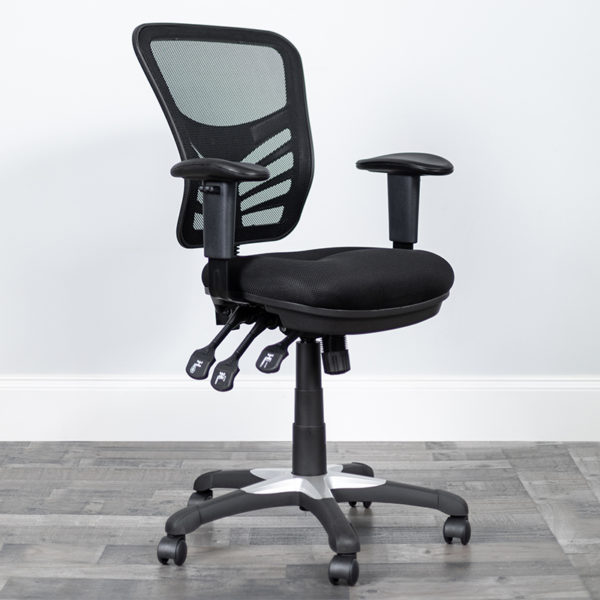 Lowest Price Mid-Back Black Mesh Multifunction Executive Swivel Ergonomic Office Chair with Adjustable Arms