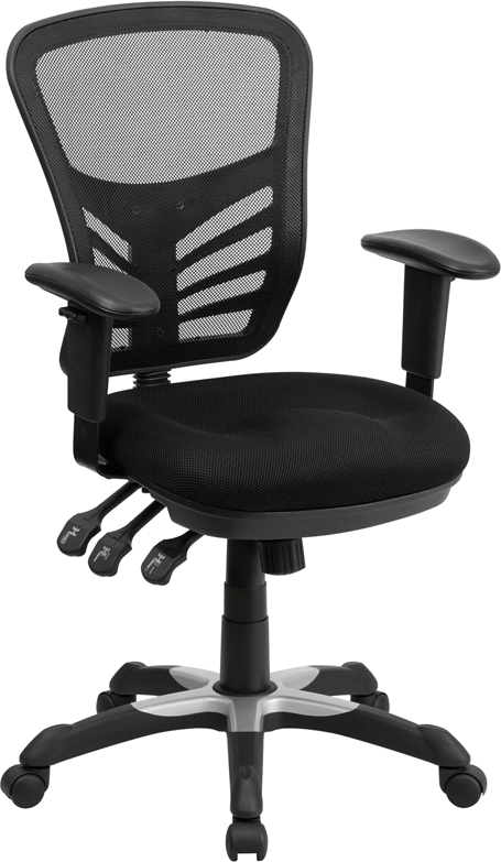 Wholesale Mid-Back Black Mesh Multifunction Executive Swivel Ergonomic Office Chair with Adjustable Arms