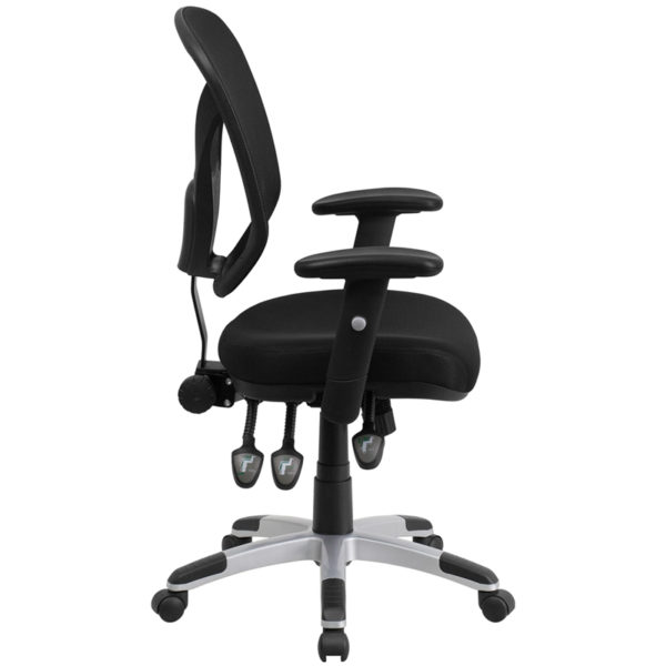 Lowest Price Mid-Back Black Mesh Multifunction Swivel Ergonomic Task Office Chair with Adjustable Arms