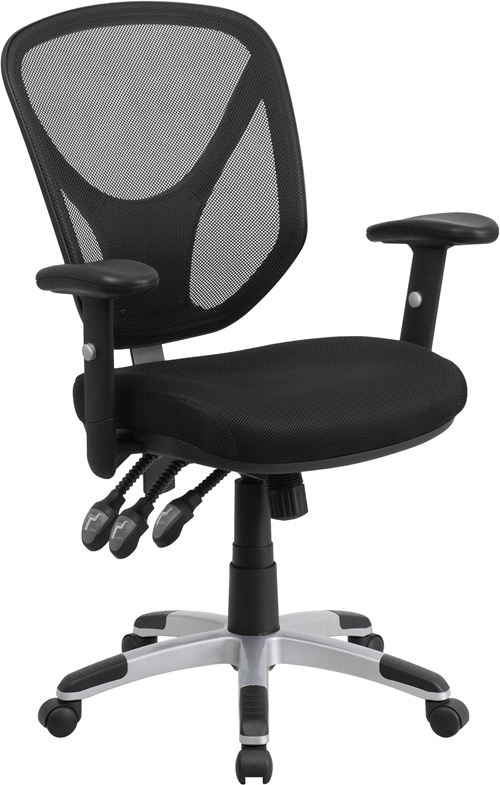Wholesale Mid-Back Black Mesh Multifunction Swivel Ergonomic Task Office Chair with Adjustable Arms