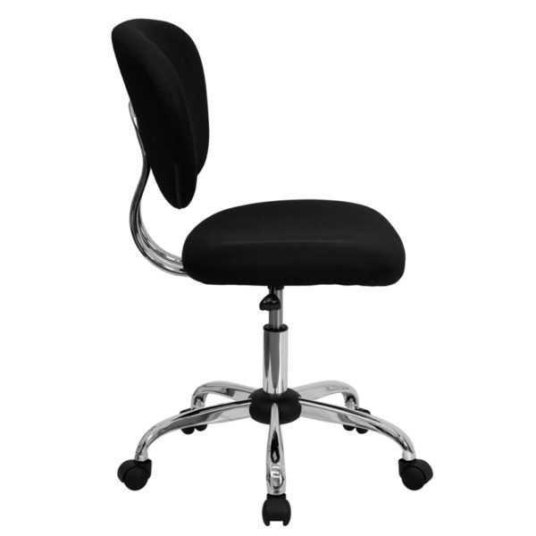Lowest Price Mid-Back Black Mesh Padded Swivel Task Office Chair with Chrome Base