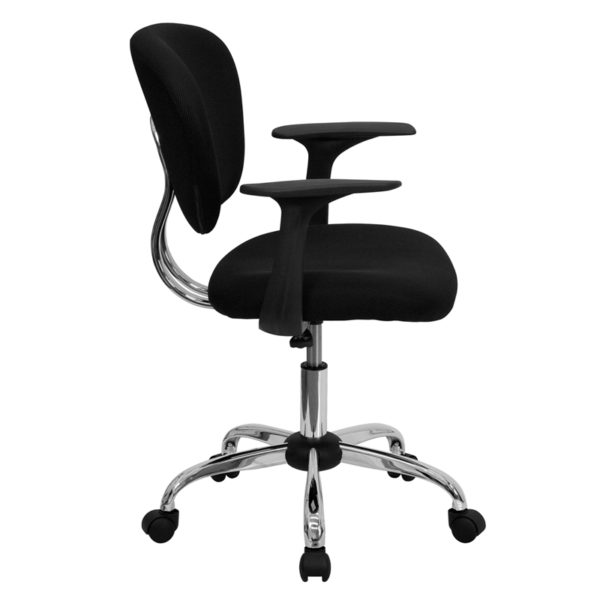 Lowest Price Mid-Back Black Mesh Padded Swivel Task Office Chair with Chrome Base and Arms