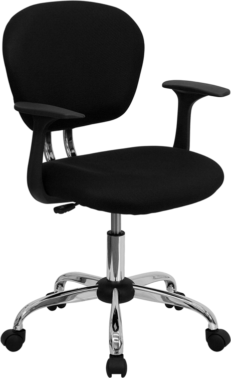Wholesale Mid-Back Black Mesh Padded Swivel Task Office Chair with Chrome Base and Arms