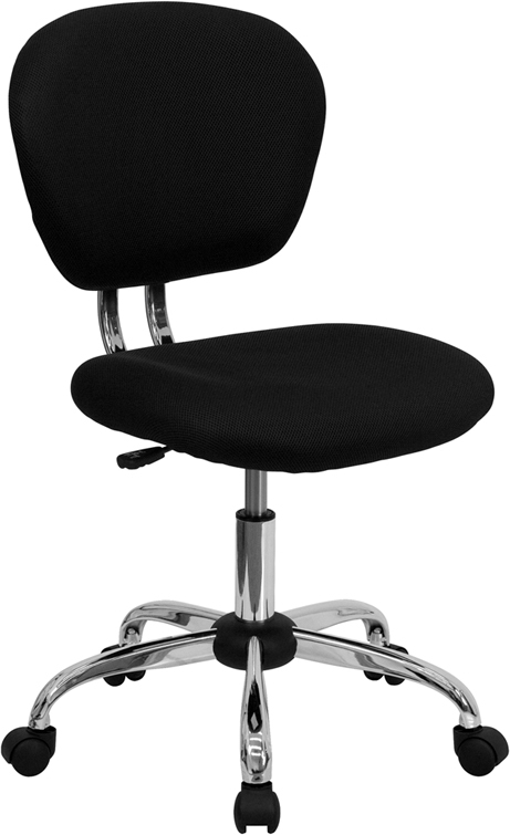 Wholesale Mid-Back Black Mesh Padded Swivel Task Office Chair with Chrome Base