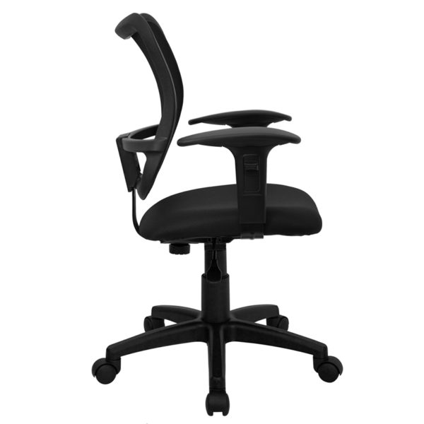 Lowest Price Mid-Back Black Mesh Swivel Task Office Chair with Adjustable Arms
