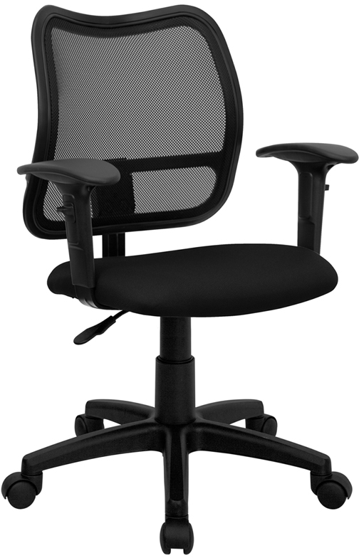 Wholesale Mid-Back Black Mesh Swivel Task Office Chair with Adjustable Arms