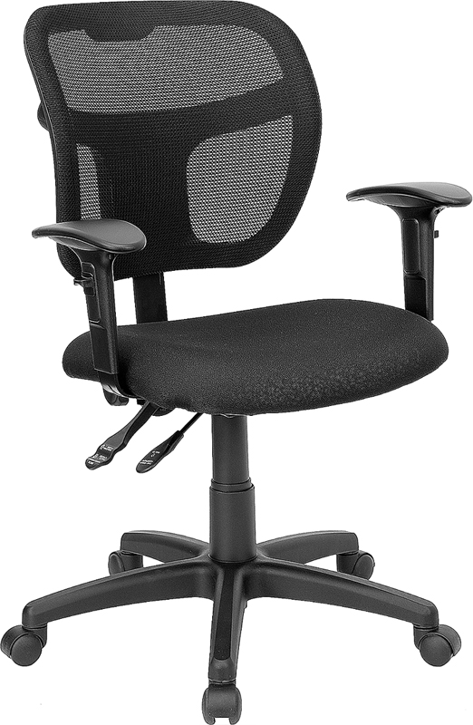 Wholesale Mid-Back Black Mesh Swivel Task Office Chair with Back Height Adjustment and Adjustable Arms