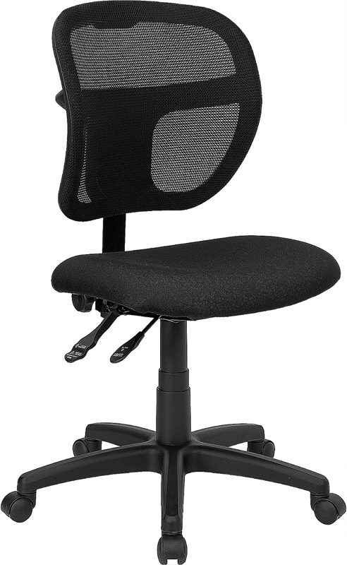 Wholesale Mid-Back Black Mesh Swivel Task Office Chair with Back Height Adjustment