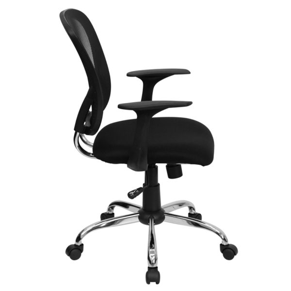 Lowest Price Mid-Back Black Mesh Swivel Task Office Chair with Chrome Base and Arms