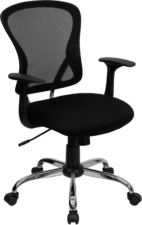 Wholesale Mid-Back Black Mesh Swivel Task Office Chair with Chrome Base and Arms