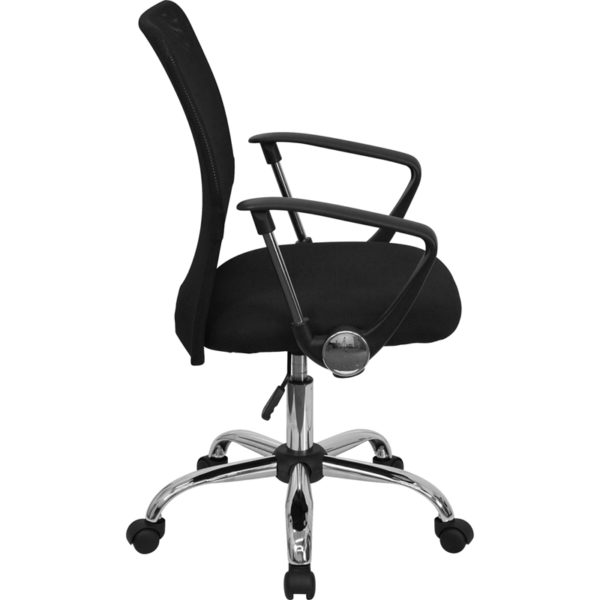 Lowest Price Mid-Back Black Mesh Swivel Task Office Chair with Lumbar Support Band and Arms