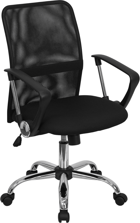 Wholesale Mid-Back Black Mesh Swivel Task Office Chair with Lumbar Support Band and Arms