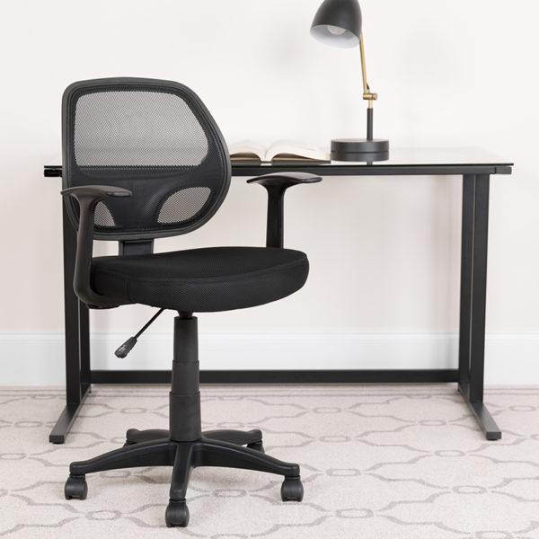 Lowest Price Mid-Back Black Mesh Swivel Task Office Chair with T-Arms
