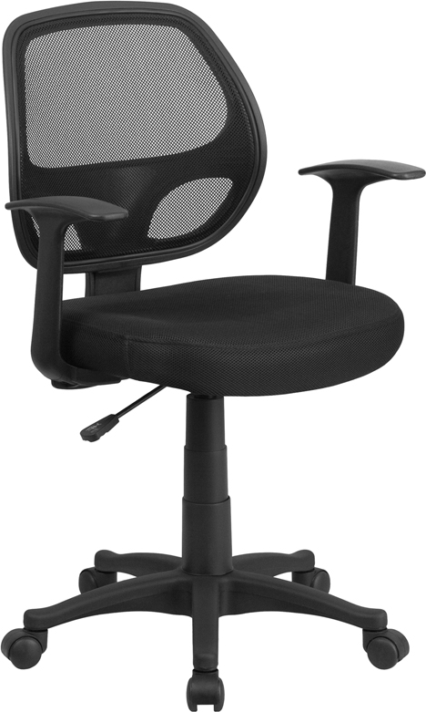 Wholesale Mid-Back Black Mesh Swivel Task Office Chair with T-Arms