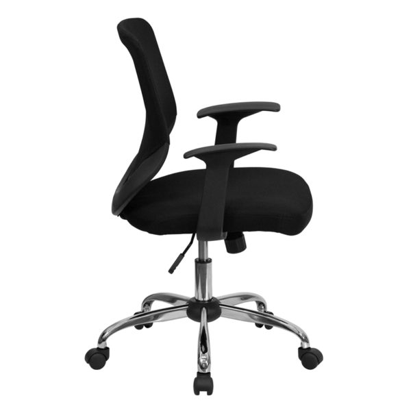 Lowest Price Mid-Back Black Mesh Tapered Back Swivel Task Office Chair with Chrome Base and T-Arms