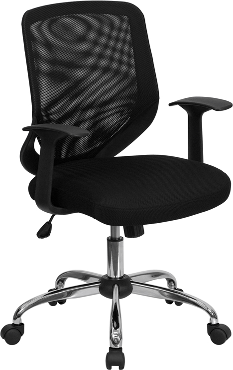 Wholesale Mid-Back Black Mesh Tapered Back Swivel Task Office Chair with Chrome Base and T-Arms