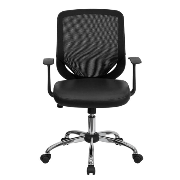 Contemporary Task Office Chair Black Mid-Back Leather Chair