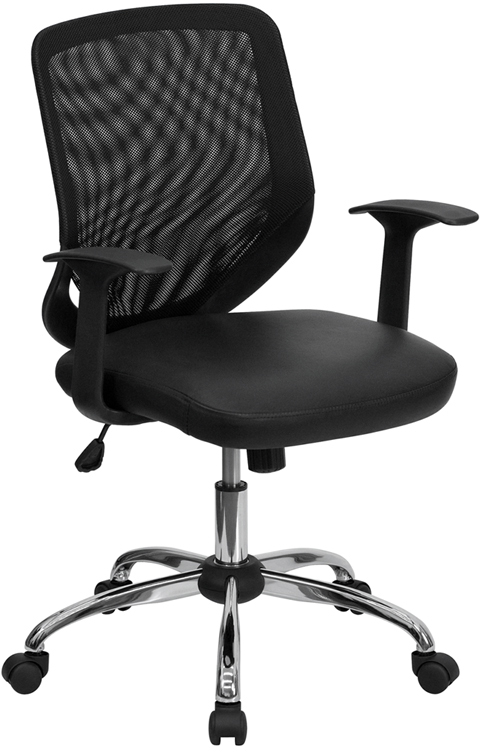 Wholesale Mid-Back Black Mesh Tapered Back Swivel Task Office Chair with Leather Seat