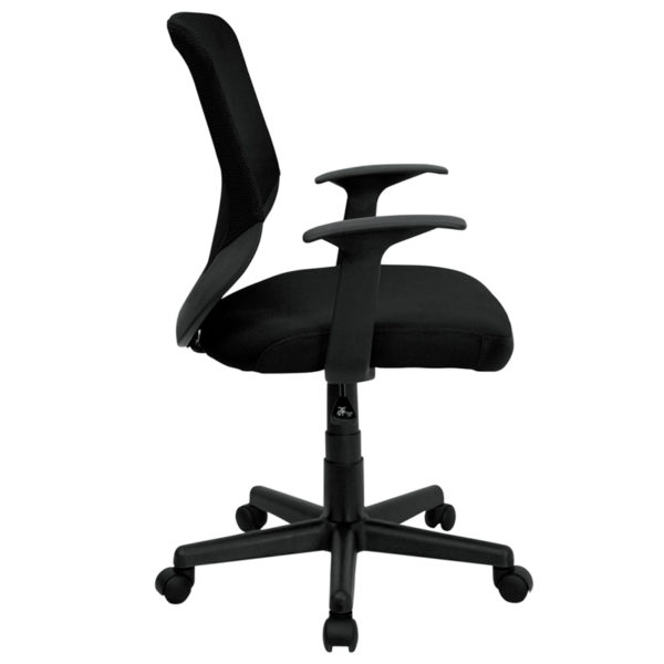 Lowest Price Mid-Back Black Mesh Tapered Back Swivel Task Office Chair with T-Arms