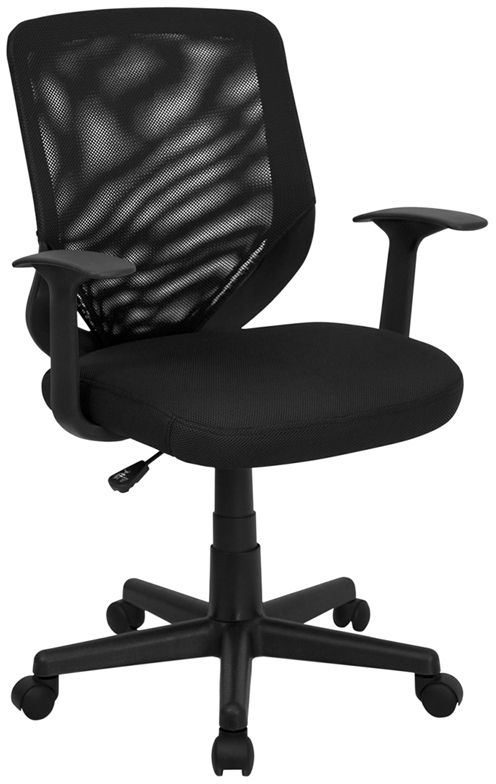 Wholesale Mid-Back Black Mesh Tapered Back Swivel Task Office Chair with T-Arms