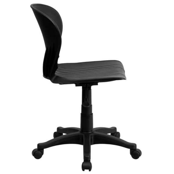 Lowest Price Mid-Back Black Plastic Swivel Task Office Chair