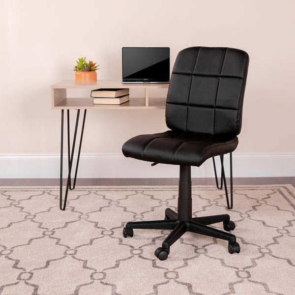 Lowest Price Mid-Back Black Quilted Vinyl Swivel Task Office Chair