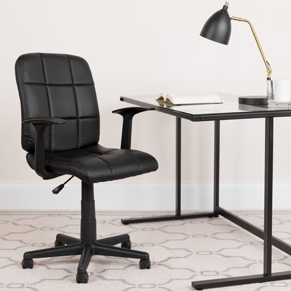 Lowest Price Mid-Back Black Quilted Vinyl Swivel Task Office Chair with Arms