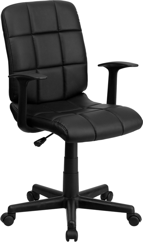 Wholesale Mid-Back Black Quilted Vinyl Swivel Task Office Chair with Arms