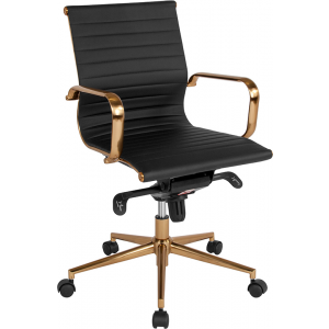 Wholesale Mid-Back Black Ribbed Leather Executive Swivel Office Chair with Gold Frame