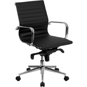 Wholesale Mid-Back Black Ribbed Leather Swivel Conference Office Chair with Knee-Tilt Control and Arms