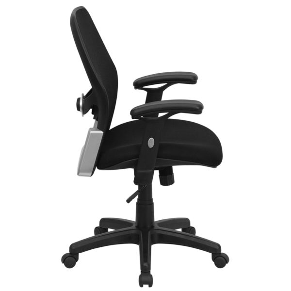 Lowest Price Mid-Back Black Super Mesh Executive Swivel Office Chair with Adjustable Lumbar & Arms