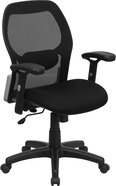 Wholesale Mid-Back Black Super Mesh Executive Swivel Office Chair with Adjustable Lumbar & Arms