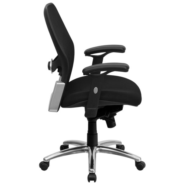 Lowest Price Mid-Back Black Super Mesh Executive Swivel Office Chair with Knee Tilt Control and Adjustable Lumbar & Arms