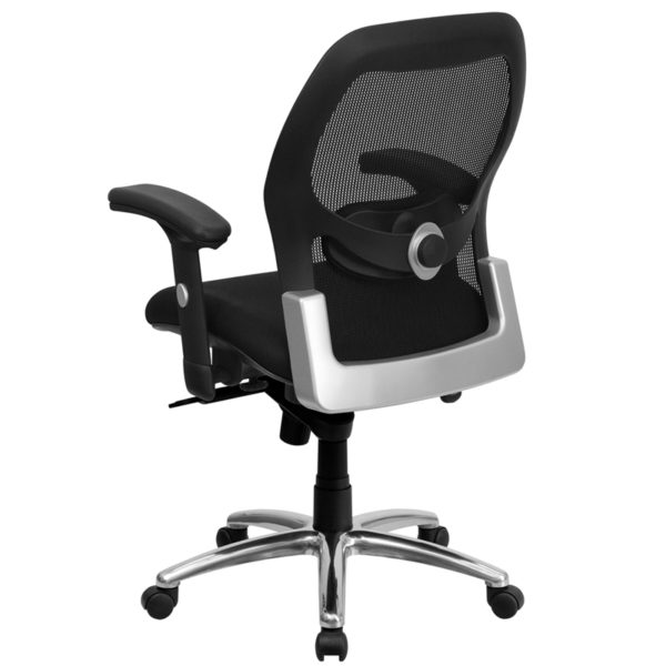 Contemporary Office Chair Black Mid-Back Mesh Chair
