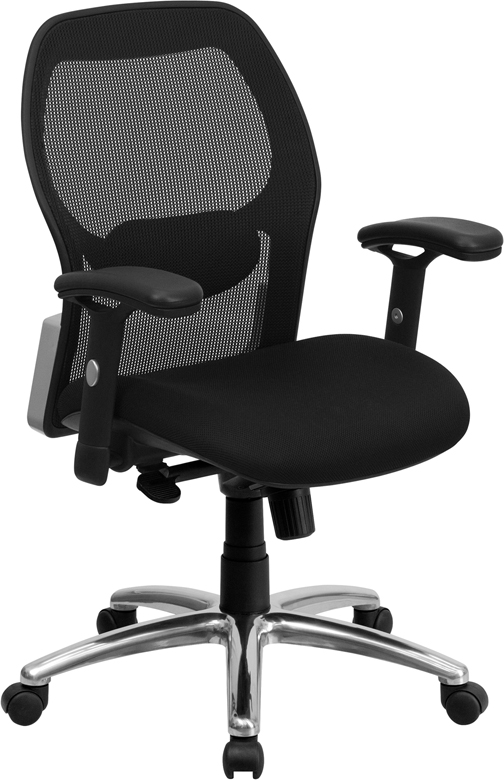 Wholesale Mid-Back Black Super Mesh Executive Swivel Office Chair with Knee Tilt Control and Adjustable Lumbar & Arms