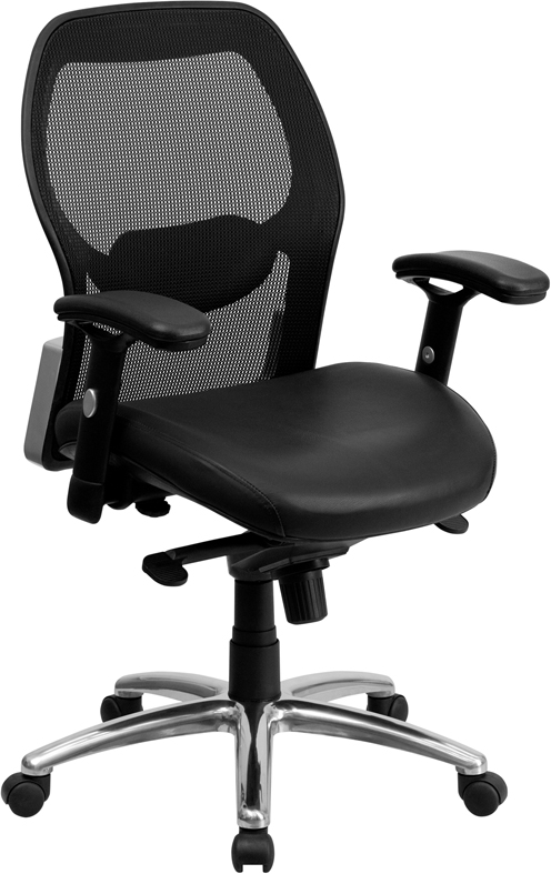 Wholesale Mid-Back Black Super Mesh Executive Swivel Office Chair with Leather Seat
